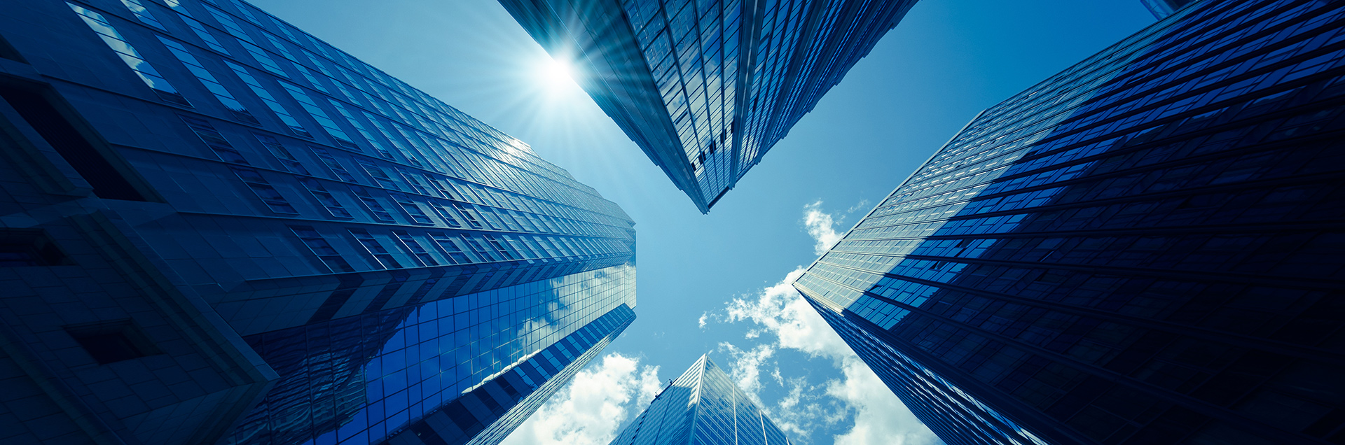 Tall buildings representing public companies